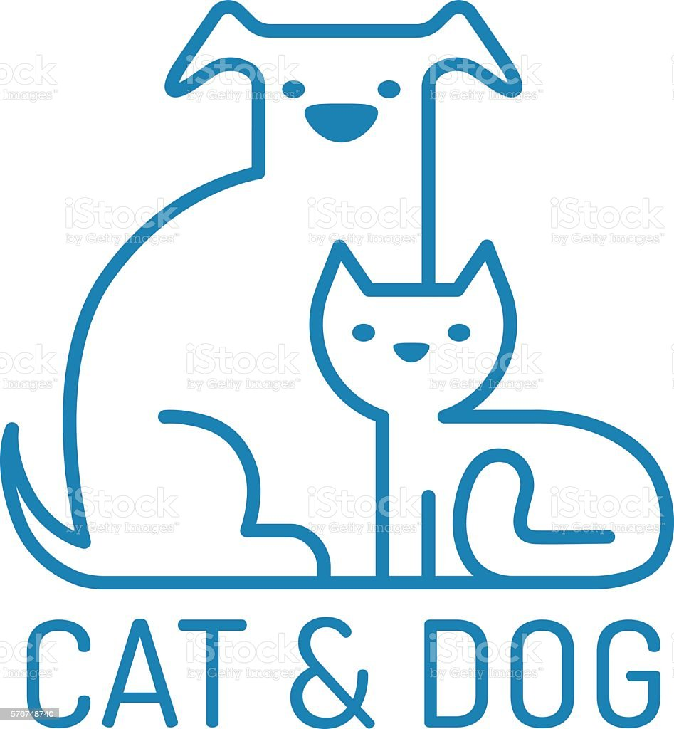 Cat and gog vector art illustration