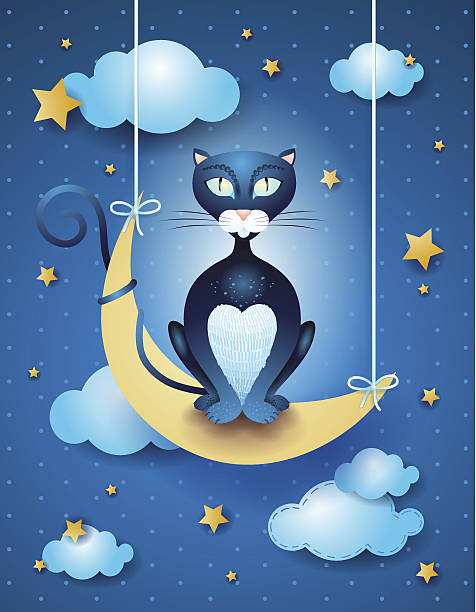 cat and moon - bedtime story stock illustrations