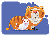 vector illustration of cat and mouse gathering