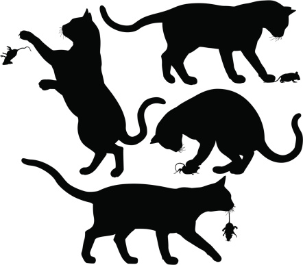 Cat and mouse silhouette icons set