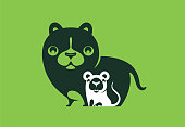 vector illustration of cat and mouse symbol