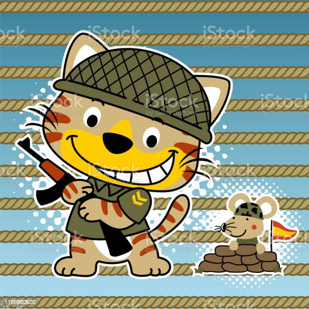 Cat and mouse the funny soldiers cartoon vector id1166980620?b=1&k=6&m=1166980620&s=612x612&h=uonofl  z vutbhqandz0v0dohhktzxy 3igzqug0gq=