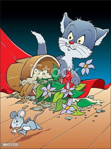 An a vector illustration of cat chaseing mouse
