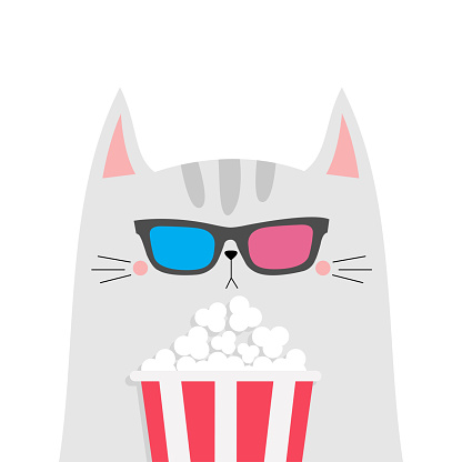 Cat and popcorn. Cinema theater. Cute cartoon funny character. Film show. Kitten watching movie in 3D glasses. Kids print for tshirt notebook cover. White background. Isolated. Flat design