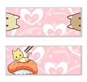 Cute cat and salmon sushi with heart, sweet pink wallpaper cover. Cover banner poster and product. Vector illustration. Used for website cover page design and digital media products.