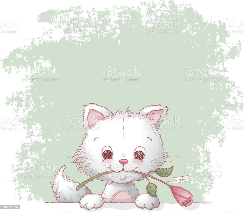 Cat and valentine rose vector art illustration