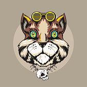 Cat Animal Gangster Vector Illustration