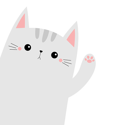 Cat animal. Kitten kitty waving hand. Cute cartoon funny kawaii character. Childish baby collection. T-shirt, greeting card, poster template print. Flat design. White background.