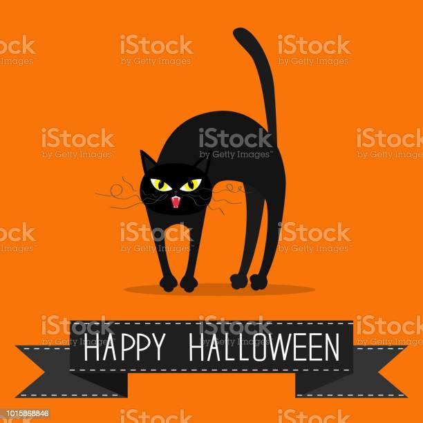 Cat arch back yellow eyes fangs curl moustaches whisker black ribbon vector id1015868846?b=1&k=6&m=1015868846&s=612x612&h=x t5pzbiu7wyex0vnn mvb2k igugcvw 3 97ei860a=
