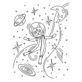 Cat astronaut in spacesuit flying in space. Outline vector illustration. Design for kids print, coloring book, t-shirt, apparel, postcards.