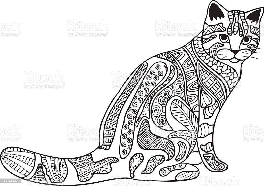 Ilustración de Gato Blanco Y Negro De Patrones étnica Garabato ...