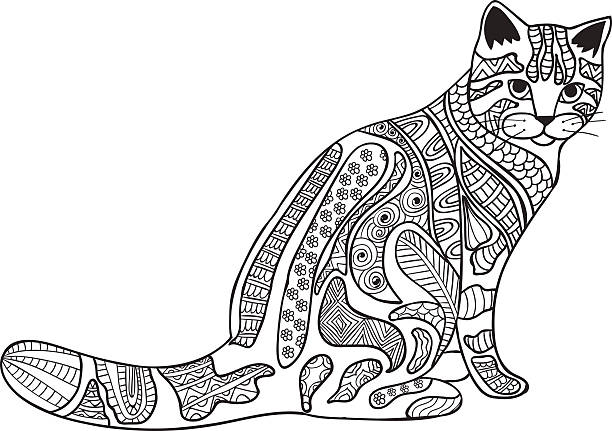 Cat Black and white doodle print with ethnic patterns Cat anti-stress coloring book for adults. Black and white hand drawn vector. doodle print with ethnic patterns. animal markings stock illustrations
