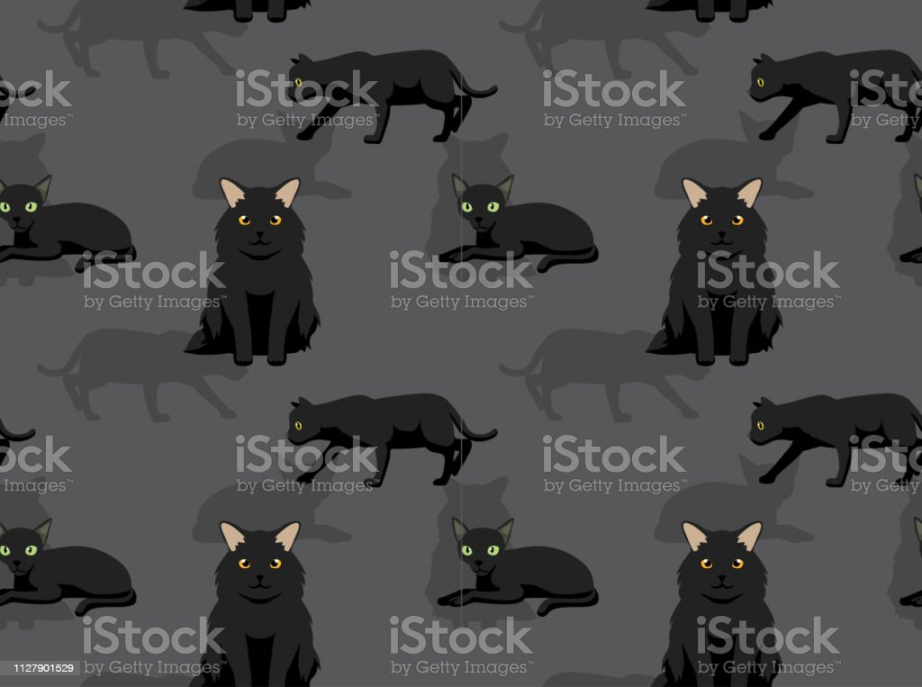 Cat Black Cute Cartoon Background Seamless Wallpaper Stock Illustration Download Image Now Istock
