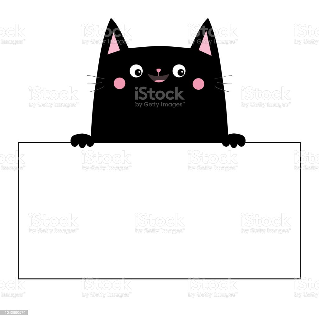Cat Black Head Face Silhouette Hanging On Paper Board Template Hands
