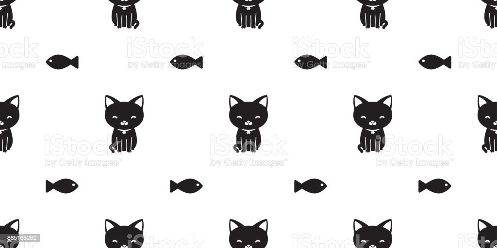 Cat Black Kitten Fish Icon Doodle Vector Seamless Pattern Wallpaper Background Stock Illustration Download Image Now Istock