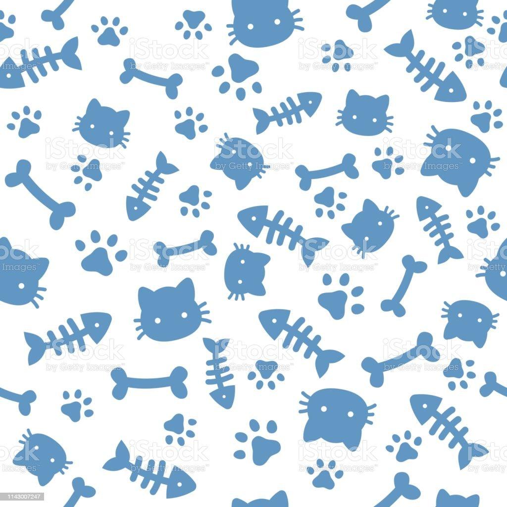 猫の男の子柄青い足の動物の足跡と骨猫の犬の足の壁紙かわいい子犬の