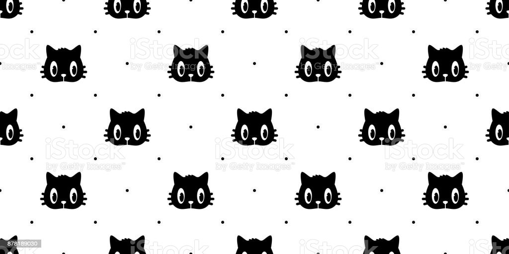Cat Breed Face Black Kitten Head Seamless Pattern Wallpaper Background Stock Illustration Download Image Now Istock