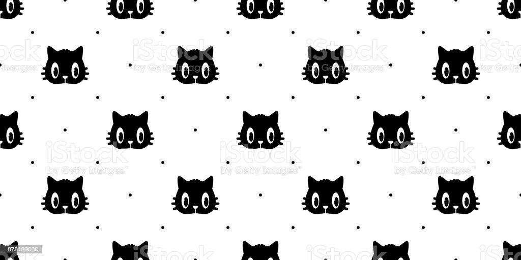 Cat breed face Black kitten Head Seamless Pattern wallpaper background vector art illustration