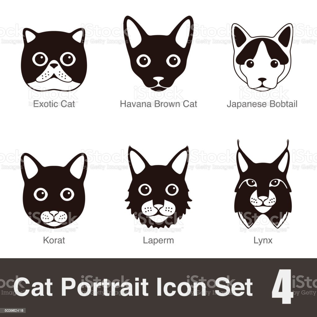 Cat Breed Face Cartoon Flat Icon Series stock vector art