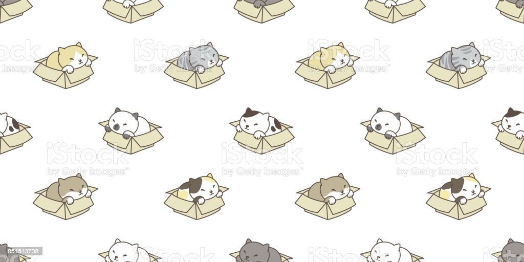 cat breed in the box kitten vector seamless pattern wallpaper background vector art illustration
