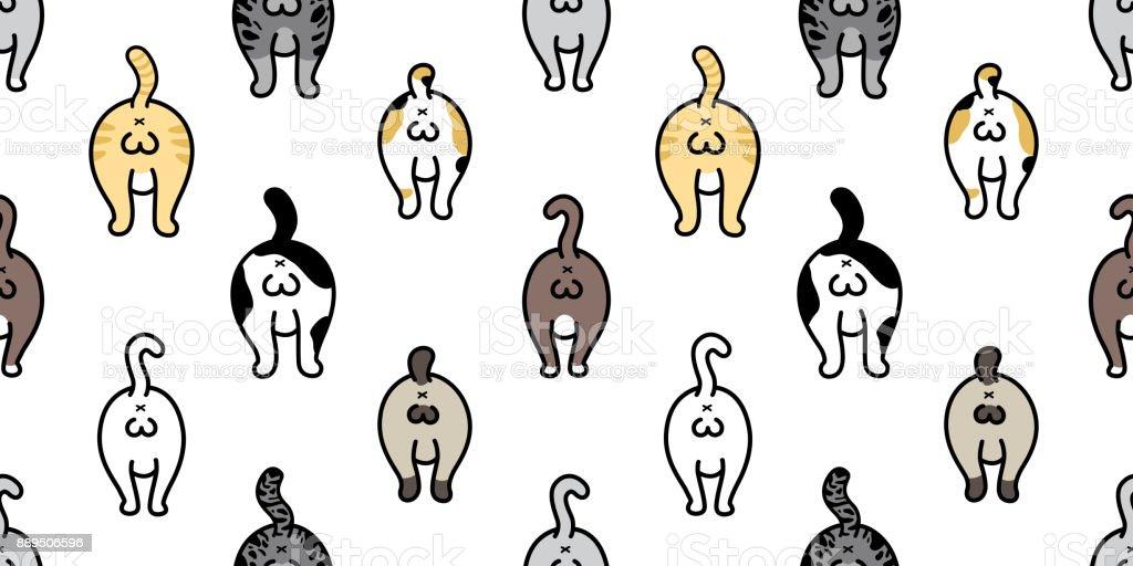 Katze Rasse Kätzchen Hintern Von Katze Doodle Vector Seamless ...