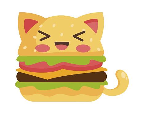 cat burger character vector design