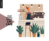 Cat cafe -small business graphics -barista at the counter. Modern flat vector concept illustrations - woman wearing apron at the bar counter, coffee machine, bar stool, interior decoration, plants