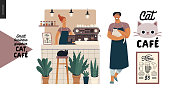 Cat cafe -small business graphics -owner and shop elements. Modern flat vector concept illustrations - man wearing apron petting a cat, interior decoration, logo, menu, barista at the counter