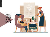 Cat cafe -small business graphics -visitor and waitress. Modern flat vector concept illustrations - young woman petting a cat at the table inside the cafe and a waitress bringing a cake.