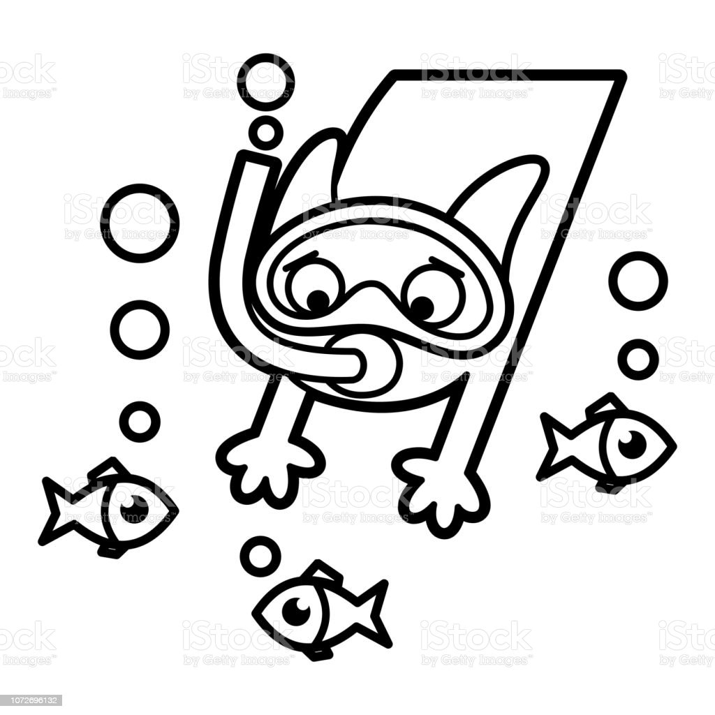Cizgi Film Karakter Boyama Sayfa Siyah Beyaz Kedi Stok Vektor