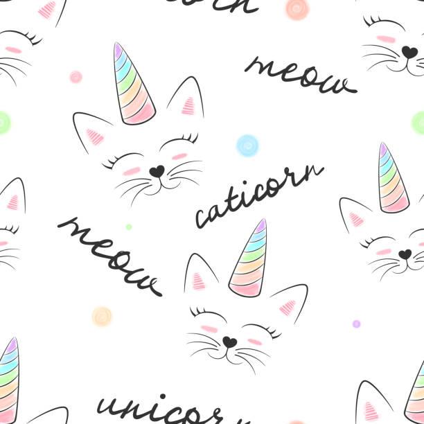 stockillustraties, clipart, cartoons en iconen met kat, caticorn, unicorn - naadloze textiel patroon. - miauwen