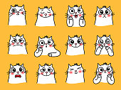 Cat character stickers. Cartoon pets with cute emotions, smiling graphic images of loving animal, vector illustration of funny emoji of cats with big eyes isolated on yellow backgro