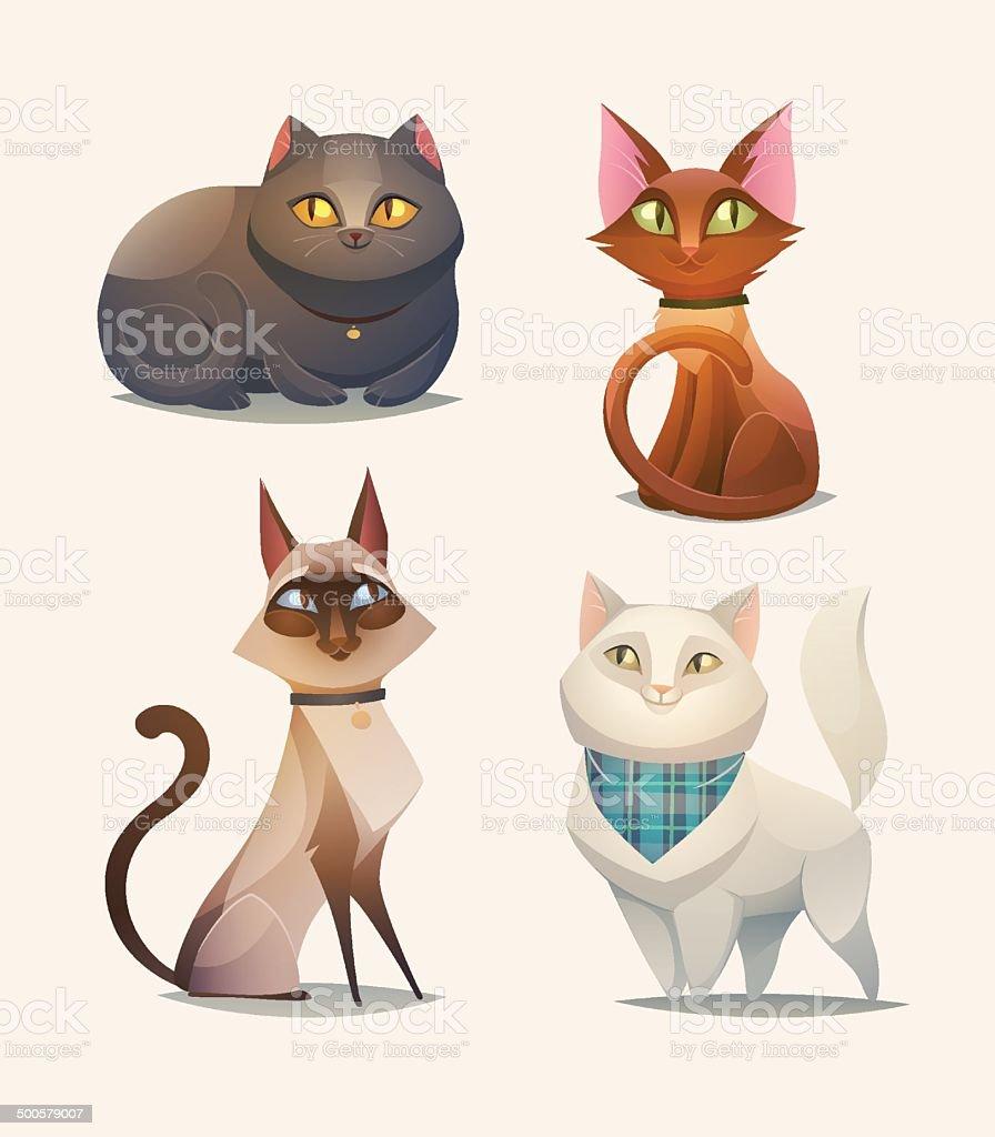 Cat characters. Cartoon vector illustration. vector art illustration