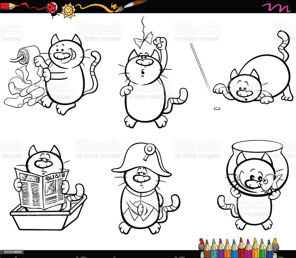 Sayfa Boyama Kedi Karakterler Stok Vektor Sanati Acikmis Nin