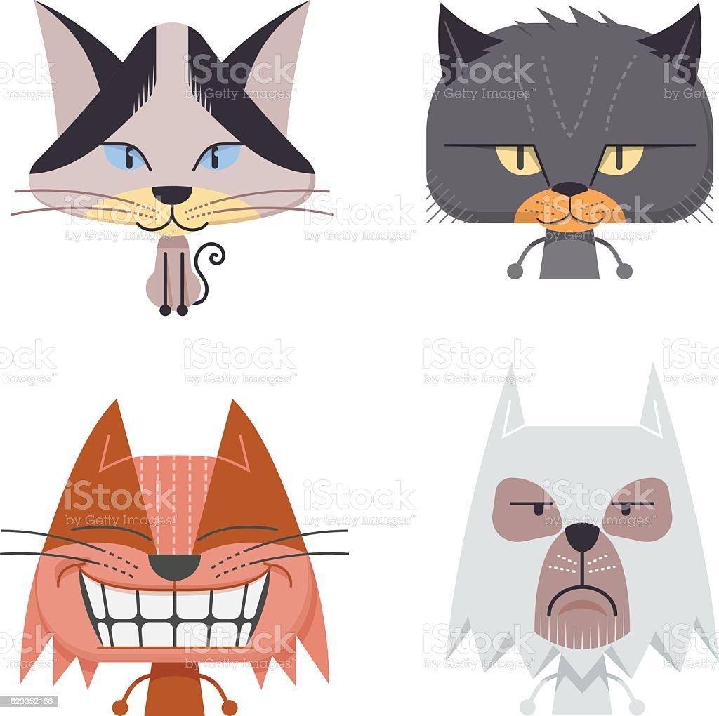 Cat Characters vector art illustration