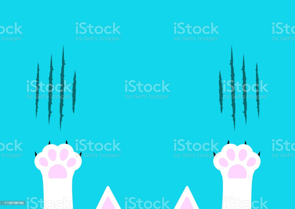 Cat claw scratching set. White paw print leg foot. Bloody claws...