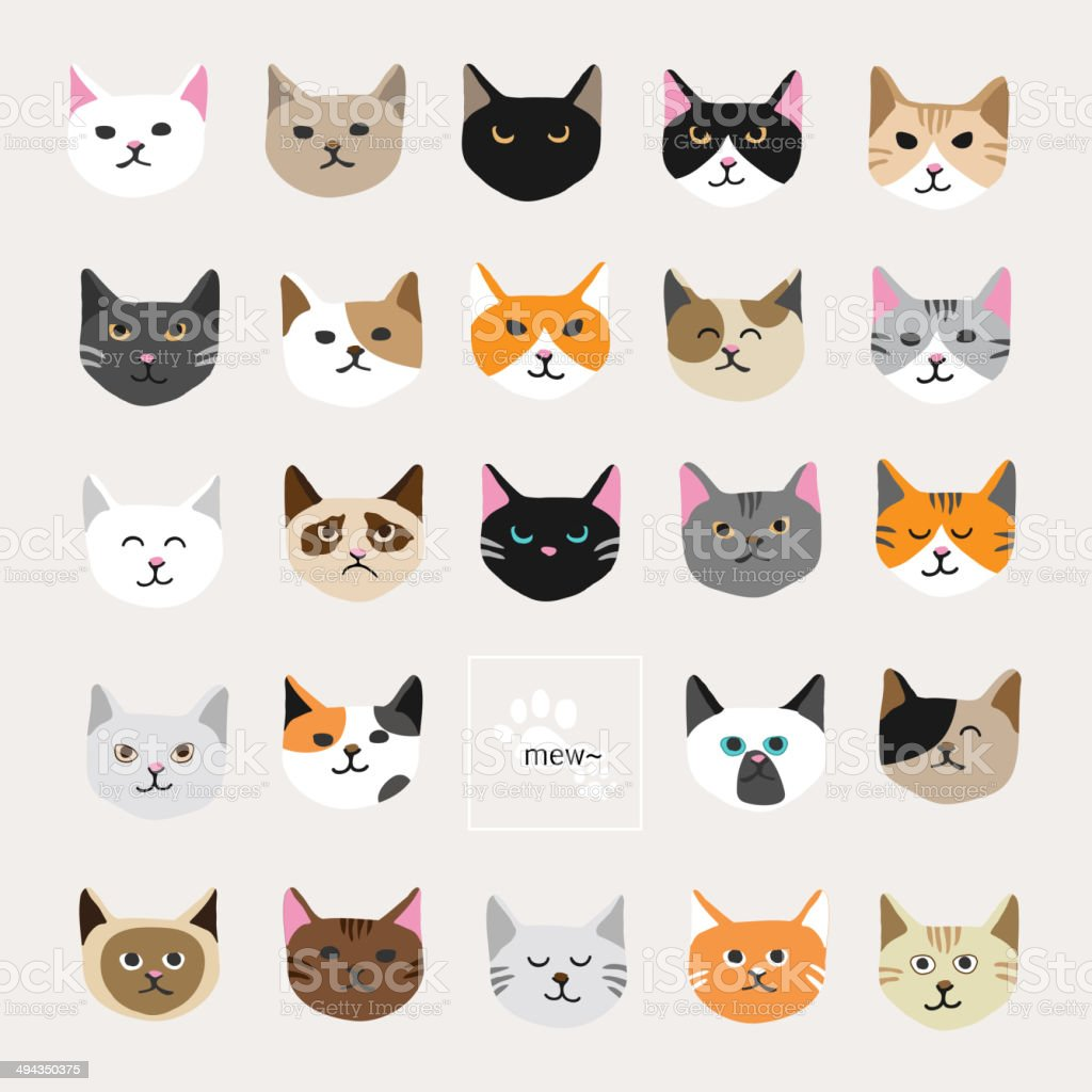 Cat collection vector art illustration