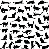 Cat collection - vector silhouette