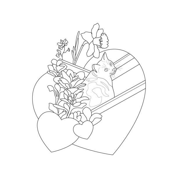 Page de coloriage de chat. Chat mignon dans le transat. Avec de jolies fleurs et des coeurs. - Illustration vectorielle