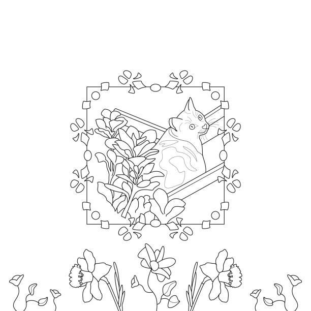 Page de coloriage de chat. Chat mignon dans le transat. Avec de jolies fleurs. - Illustration vectorielle