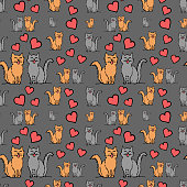 istock Cat couple in hearts, seamless pattern. Hand drawing sketch. Colorful outline on grey background. Vector illustration 1180576565