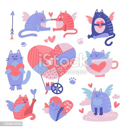 Cat cupid cartoon characters set. Valentine's Day flatvector illustration. Funny cat angels with wings, love hearts. Romantic 14 february flying characters isolated on white background.