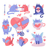 Cat cupid cartoon characters set. Valentine's Day flatvector illustration. Funny cat angels with wings, love hearts. Romantic 14 february flying characters isolated on white background