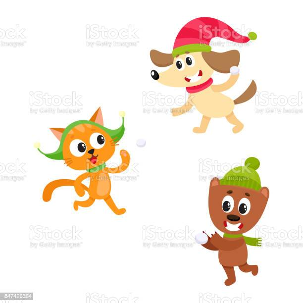 Cat dog and bear characters playing snowballs vector id847426364?b=1&k=6&m=847426364&s=612x612&h=0llli8xvnl88mtb6ph63o cvx0s ciem9ppg1njsnrw=
