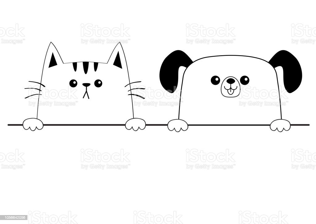 Cat dog happy face head icon. Contour silhouette. Hands paw holding...