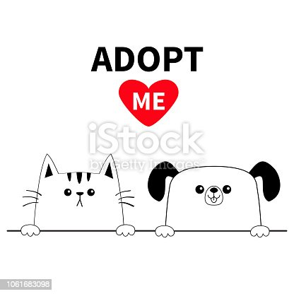 Cat dog head face set. Hands paw holding line. Adopt me. Help homeless animal Pet adoption. Red heart. Cute cartoon kitty puppy character. Funny baby kitten pooch. Flat design White background Vector