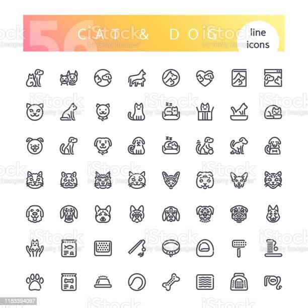 Cat dog line icons set vector id1153394097?b=1&k=6&m=1153394097&s=612x612&h=siw00ojk42722qvxbvfemufjs30ohsu9e0k3dqvpumg=