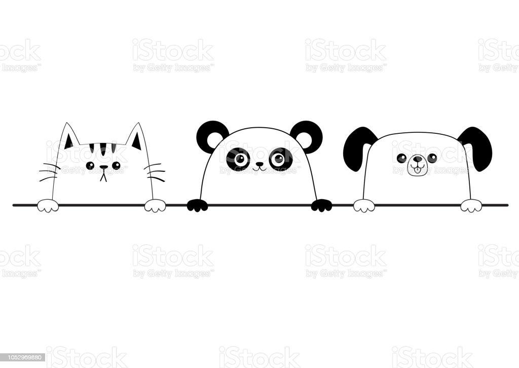 Cat dog panda bear happy face head icon set. Contour silhouette....