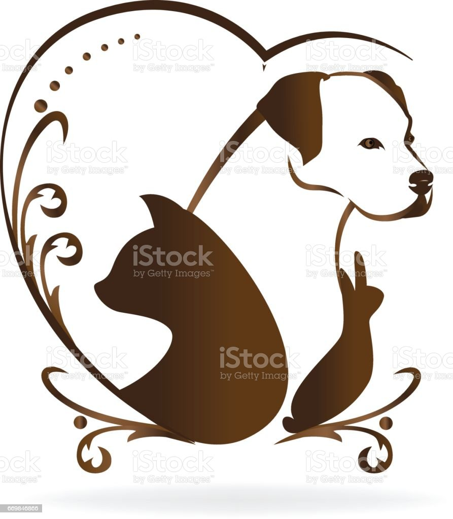 Cat dog rabbit and bird symbol vector art illustration