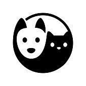 Cat and dog yin yang symbol. Simple, minimal cartoon white dog and black cat face. Isolated vector illustration.